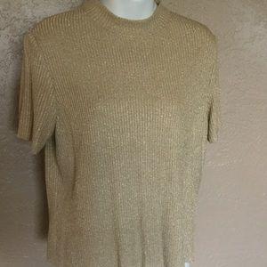 St. John Metallic Gold Sweater M EUC Lightweight